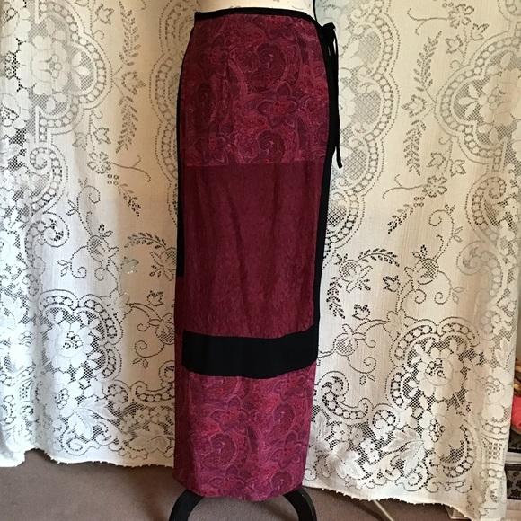 Carole Little Dresses & Skirts - Vintage-Carole Little, Patchwork Wrap Maxi Skirt